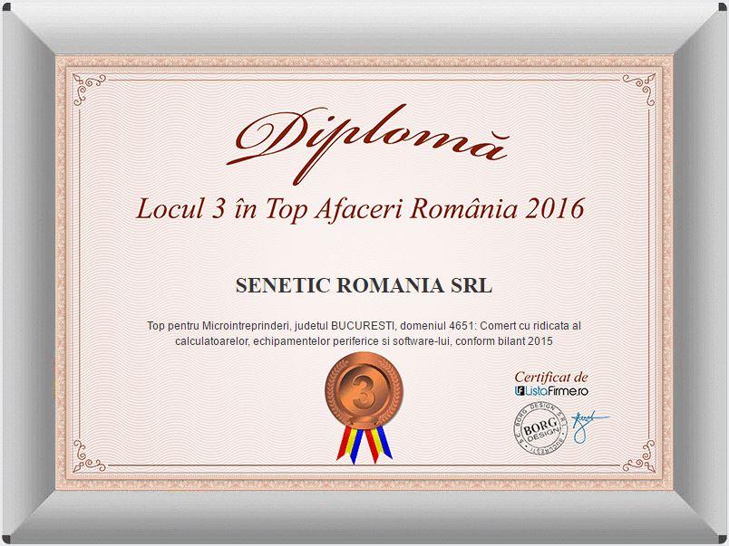 Locul 3 in Top Afaceri Romania 2016